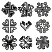 Abstract black and white curly icons. — Vecteur