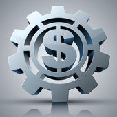 Money concept 3d icon with gear and dollar sign. — Stockvektor
