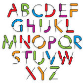 Weird constructor font, vector alphabet letters. — Stock Vector