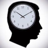 Male head silhouette with watch instead of brains. — Stock Vector