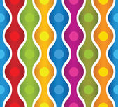 Simplistic colorful wavy lines and circles seamless pattern. — Stock Vector