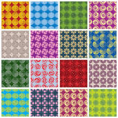 Colorful retro style tiles seamless patterns set. — Stock Vector