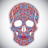 Floral skull vector illustration. — Vecteur