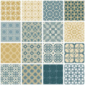 Vintage tiles seamless patterns set 2. — Stock Vector