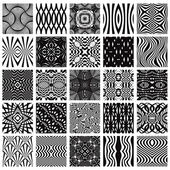 Set of 25 black and white geometric seamless patterns. — Vecteur
