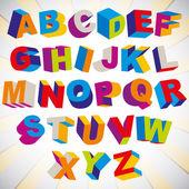 3D font, bold psychedelic colorful alphabet. — Vecteur