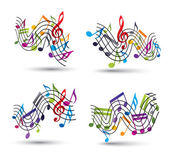 Music notes staff abstract compositions. — Stock Vector