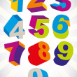 Постер, плакат: 3D colorful bold numbers vector set