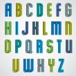 Постер, плакат: Vector geometric alphabet bold and condensed font in retro post