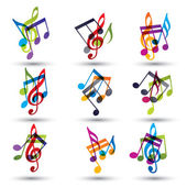 Musical notes abstract icons set. — Stock Vector