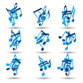 Set of blue abstract musical notes symbols. — Stock Vector