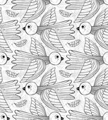 Graphic stylized birds seamless pattern. — Stockvektor