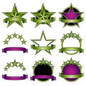 5 stars classic emblems set. — Stock Vector