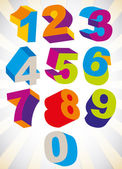 3D colorful bold numbers vector set. — Stock Vector
