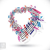 I love music concept. Heart made with musical notes and clef. — Stock Vector
