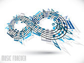Forever music concept, infinity symbol made with musical notes a — Vector de stock