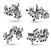 Musical notes staff set. — Stock Vector