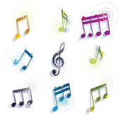 Musical notes icons set. — Stockvektor