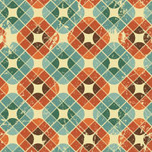 Vintage tiles with grunge texture seamless background, vector il — Stock Vector
