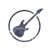 Electric guitar icon with halftone dots print texture. — Stockvektor