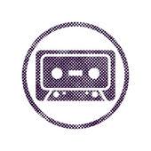 Audio cassette icon with halftone dots print texture. — Stockvektor