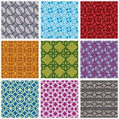 Colorful vintage tiles seamless patterns set 2. — Stock Vector
