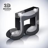 Funky Musiknoteringen 3d modern stilikon isolerade. — Stockvektor