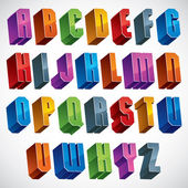 3d font, vector bold and heavy letters. — Stockvektor