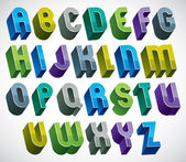 3d colorful letters bold alphabet made with round shapes. — Stock Vector