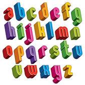 3d font, vector colorful letters, geometric dimensional alphabet — Stock Vector
