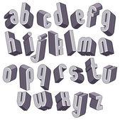 3d geometrycznej pogrubioną czcionką, monochromatyczne alfabet wymiarowe. — Wektor stockowy