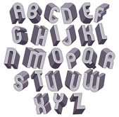 3d bold and big font, monochrome dimensional alphabet made with  — Stock Vector