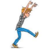Scary walking teen boy. — Stock Vector
