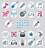 Music icons set, simple single color vector icons set for music — Stock Vector