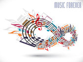 Forever music concept, infinity symbol made with musical notes a — Stockvector