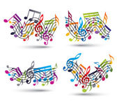 Musical notes staff set. — 图库矢量图片