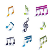 Musical notes icons set. — Vettoriale Stock