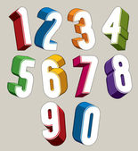 3d numbers set made with round shapes. — Stock Vector