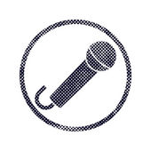 Microphone icon with halftone dots print texture. — Stock Vector
