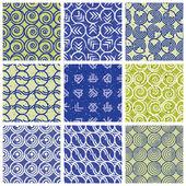 Blue green retro style tiles. — Stock Vector