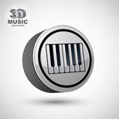 Piano keyboard vector icon isolated, 3d music theme design eleme — Stock Vector