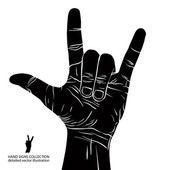 Rock on hand sign, rock n roll, hard rock, heavy metal, music, d — Stock Vector