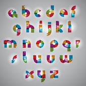 Geometric style letters alphabet with lights effects. — Stock Vector