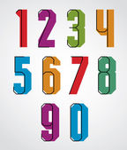Retro numbers set, bold condensed numerals typeface. — Stock Vector