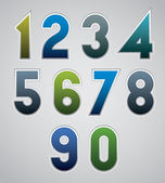Vector numbers, bold numerals, made in web buttons style. — Stock Vector