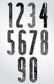 Tall poster headline numbers with halftone lines print texture. — Stock Vector