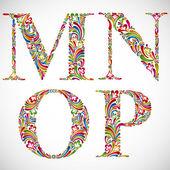 Ornate alphabet letters M N O P. — Stock Vector