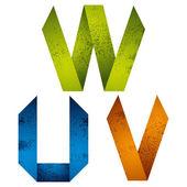 Origami alphabet letters U V W. — Stock Vector