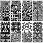 Set of monochrome geometric seamless patterns. — Stock Vector