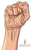 Clenched fist held high in protest hand sign, detailed vector il — Stockvektor